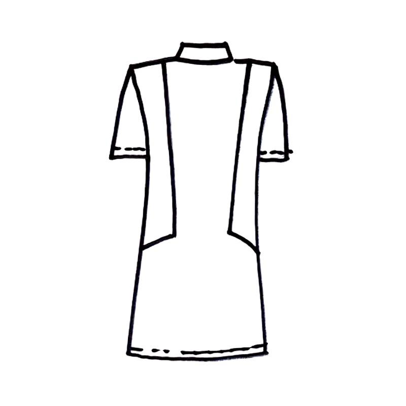 86499832a966 ... Dámské šaty na zip - nákres zezadu ...